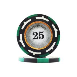 Clear Vision Pokerchip 13.5 gram Groen Waarde 25 Per 25