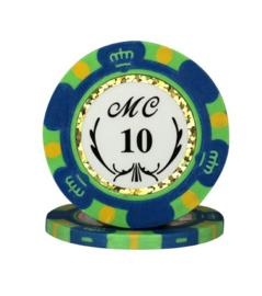 @Monte Carlo Pokerchip 13.5 gram Donker Blauw Waarde 10 Per 25