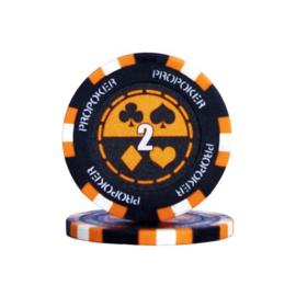 Pro Poker Pokerchip 13.5 gram Oranje Waarde 2 Per 25