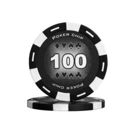 Poker Pokerchip 11.5 gram Zwart Waarde 100 Per 25