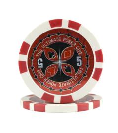 Ultimate Pokerchip 13.5 gram Rood Waarde 5 Per 25