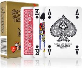 Modiano Poker Golden Trophy 4 Standaard Index Rood 100& Plastic
