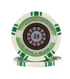 High Roller Pokerchip 11,5 gram Groen Waarde 25 Per 25