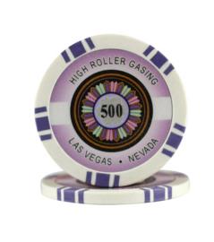 High Roller Pokerchip 11,5 gram Paars Waarde 500 Per 25
