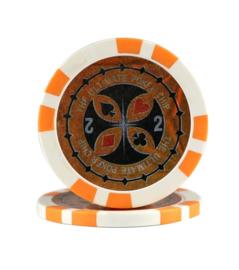 Ultimate Pokerchip 13.5 gram Oranje Waarde 2 Per 25