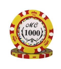 Monte Carlo Pokerchip 13.5 gram Geel Waarde 1000 Per 25