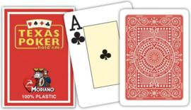 Modiano Speelkaarten Texas Poker Rood 100% Plastic Jumbo Index