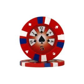 Pokerchip 3-Color 13.5 gram Rood Waarde 5 Per 25