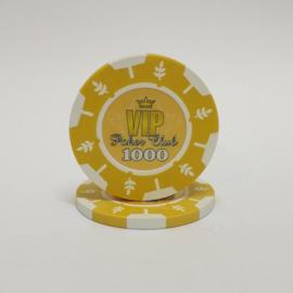 VIP Pokerchip 13.5 gram Geel Waarde 1000 Per 25