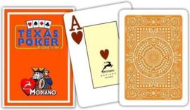 Modiano Speelkaarten Texas Poker Oranje 100% Plastic Jumbo Index