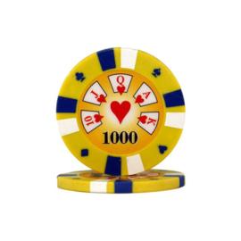Pokerchip 3-Color 13.5 gram Geel Waarde 1000 Per 25
