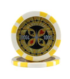@Ultimate Pokerchip 13.5 gram Geel Waarde 1000 Per 25
