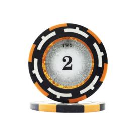 Clear Vision Pokerchip 13.5 gram Oranje Waarde 2 Per 25