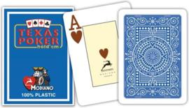 @Modiano Speelkaarten Texas Poker Blauw 100% Plastic Jumbo Index