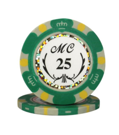 Monte Carlo Pokerchip 13.5 gram Groen Waarde 25 Per 25