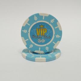 VIP Pokerchip 13.5 gram Licht Blauw Waarde 50 Per 25