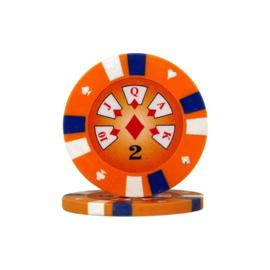 Pokerchip 3-Color 13.5 gram Oranje Waarde 2 Per 25