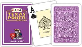 Modiano Speelkaarten Texas Poker Paars 100% Plastic Jumbo Index