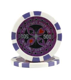 Ultimate Pokerchip 13.5 gram Paars Waarde 500 Per 25