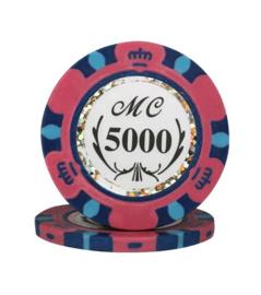 @Monte Carlo Pokerchip 13.5 gram Geel Waarde 5000 Per 25
