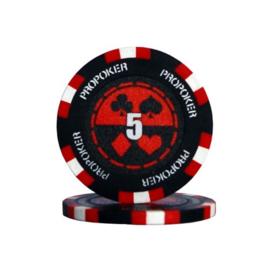 Pro Poker Pokerchip 13.5 gram Rood Waarde 5 Per 25