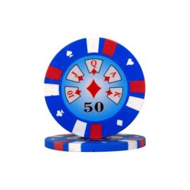 Pokerchip 3-Color 13.5 gram Licht Blauw Waarde 50 Per 25