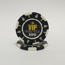 VIP Pokerchip 13.5 gram Zwart Waarde 100 Per 25