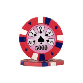 Pokerchip 3-Color 13.5 gram Roze Waarde 5000 Per 25
