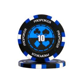 @Pro Poker Pokerchip 13.5 gram Donker Blauw Waarde 10 Per 25