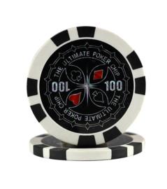 Ultimate Pokerchip 13.5 gram Zwart Waarde 100 per 25