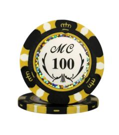 Monte Carlo Pokerchip 13.5 gram Zwart Waarde 100 Per 25