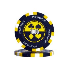 Pro Poker Pokerchip 13.5 gram Geel Waarde 1000 Per 25