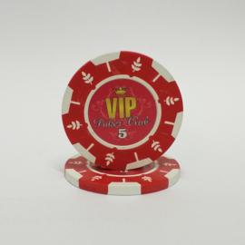 VIP Pokerchip 13.5 gram Rood Waarde 5 Per 25