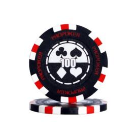 Pro Poker Pokerchip 13.5 gram Zwart Waarde 100 Per 25