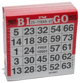 Bingokaarten pak 500 stuks Rood