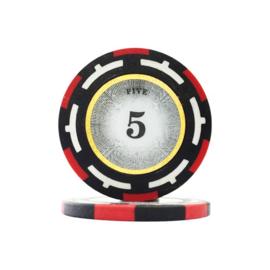 Clear Vision Pokerchip 13.5 gram Rood Waarde 5 Per 25