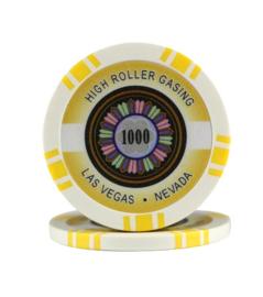 High Roller Pokerchip 11,5 gram Geel Waarde 1000 Per 25
