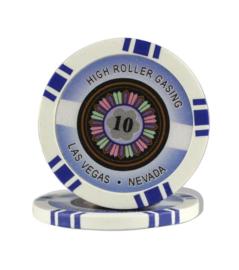 @High Roller Pokerchip 11,5 gram Donker Blauw Waarde 10 Per 25
