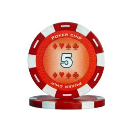 Poker Pokerchip 11.5 gram Rood Waarde 5 Per 25