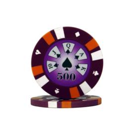 Pokerchip 3-Color 13.5 gram Paars Waarde 500 Per 25