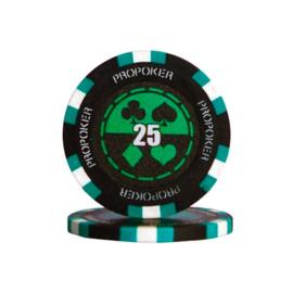 Pro Poker Pokerchip 13.5 gram Groen Waarde 25 Per 25