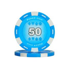 Poker Pokerchip 11.5 gram Licht Blauw Waarde 50 Per 25