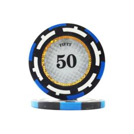 Clear Vision Pokerchip 13.5 gram Licht Blauw Waarde 50 Per 25