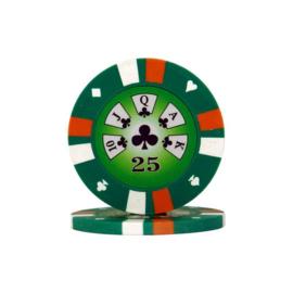 Pokerchip 3-Color 13.5 gram Groen Waarde 25 Per 25