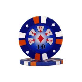 Pokerchip 3-Color 13.5 gram Donker Blauw Waarde 10 per 25
