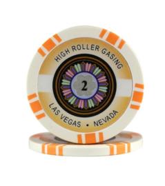 High Roller Pokerchip 11,5 gram Oranje Waarde 2 Per 25