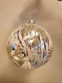 Kerstbal Silver SnowFlake #025