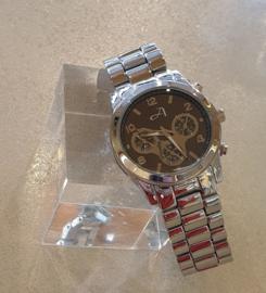Zilverkleurig horloge met schakels #15