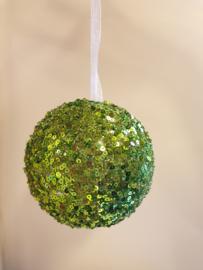 Kerstbal Green Sequin #011