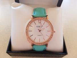 Turquoise horloge met steentjes #19